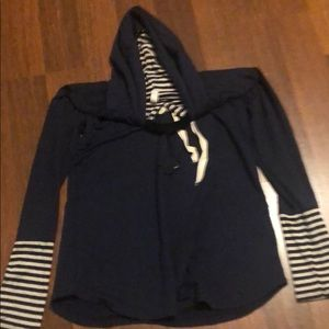 New and never worn Navy striped hoodie